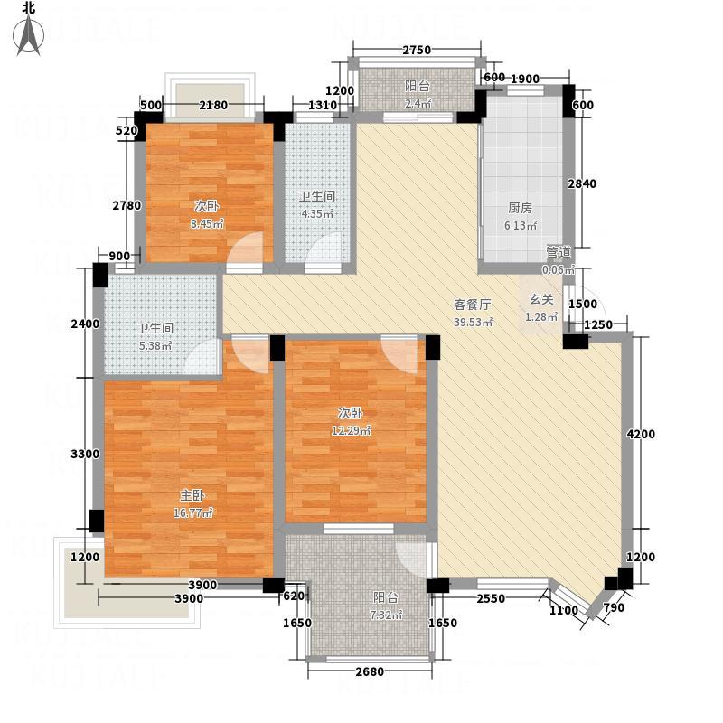 名门世家127.00㎡户型3室