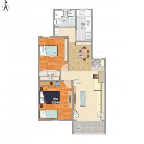 新江湾城时代花园2室1厅1卫1厨85.00㎡户型图