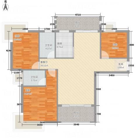 龙山豪庭3室1厅2卫1厨127.00㎡户型图
