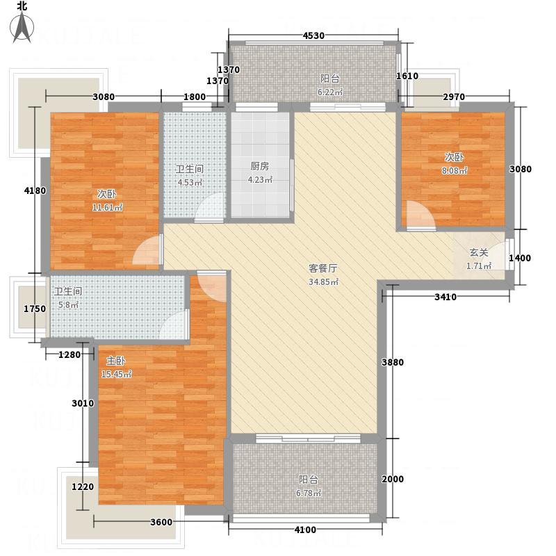龙山豪庭127.76㎡户型3室2厅2卫1厨