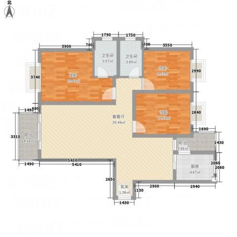 高尔夫花园3室1厅2卫1厨136.00㎡户型图