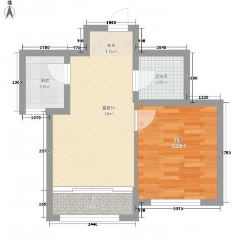 城市假日花园1室1厅1卫1厨53.00㎡户型图