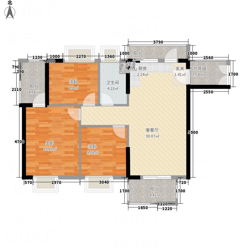 世纪名门1.60㎡3栋01户型3室2厅1卫1厨