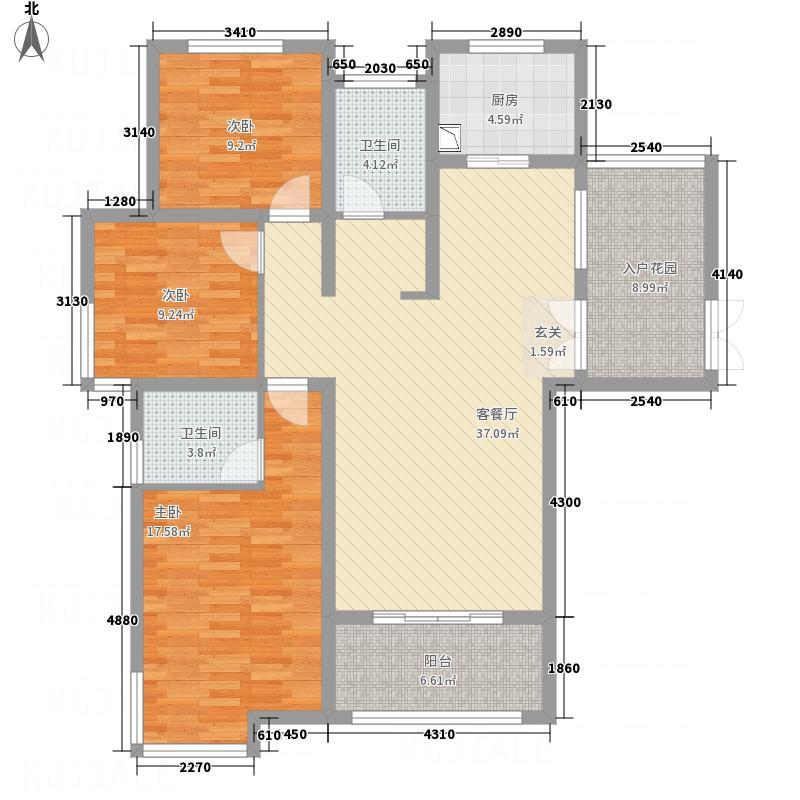 锦江・城市花园134.15㎡F赠送面积约8�户型3室2厅2卫1厨
