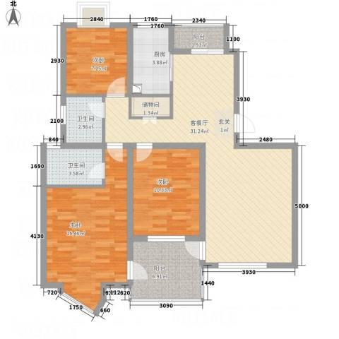 高尔夫花园3室1厅2卫1厨124.00㎡户型图