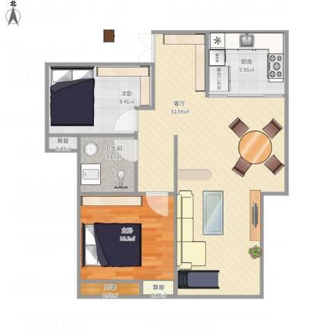 寰宇世家2室1厅1卫1厨85.00㎡户型图