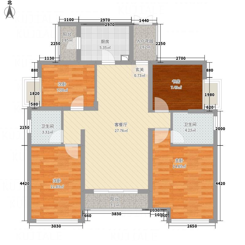 保利春天大道131.00㎡22、23、25号楼2-18层2号房户型4室2厅2卫1厨