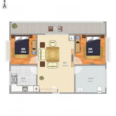 太铁北河湾2室1厅1卫1厨88.00㎡户型图