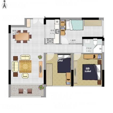诺德名筑3室1厅1卫1厨105.00㎡户型图