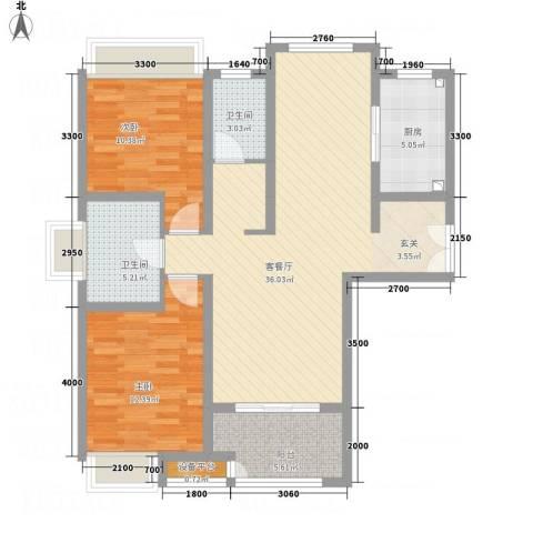 绿地21城C区2室1厅2卫1厨114.00㎡户型图