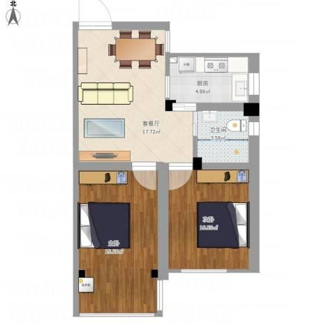 沁春园一村2室1厅1卫1厨77.00㎡户型图