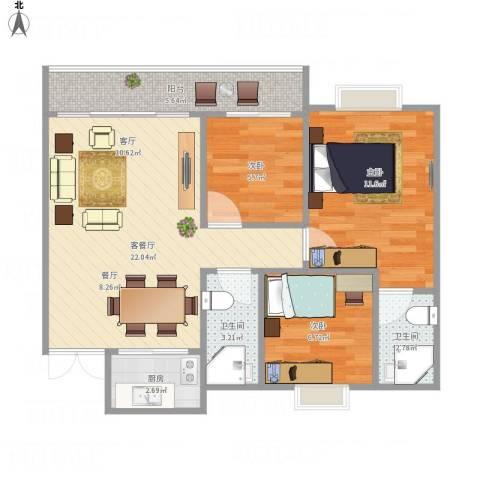 翡翠山河3室1厅2卫1厨84.00㎡户型图