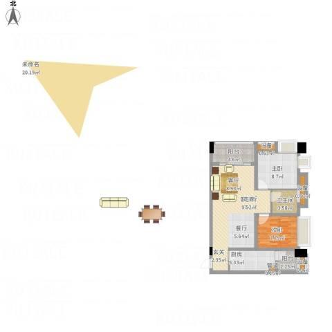 中航国际交流中心2室1厅1卫1厨89.00㎡户型图