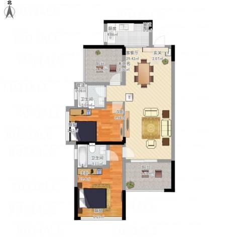 花样年江山2室1厅2卫1厨111.00㎡户型图