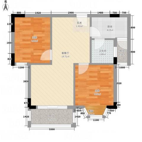 东花园河南2室1厅1卫1厨58.01㎡户型图