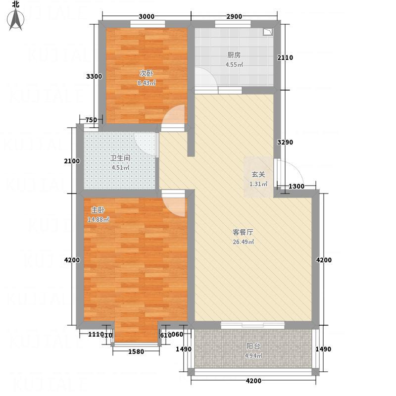 台北金城81.65㎡C户型2室2厅1卫1厨