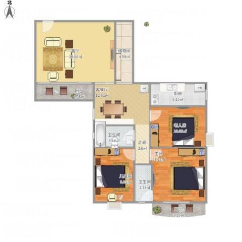 仙湖名苑3室2厅2卫1厨120.00㎡户型图
