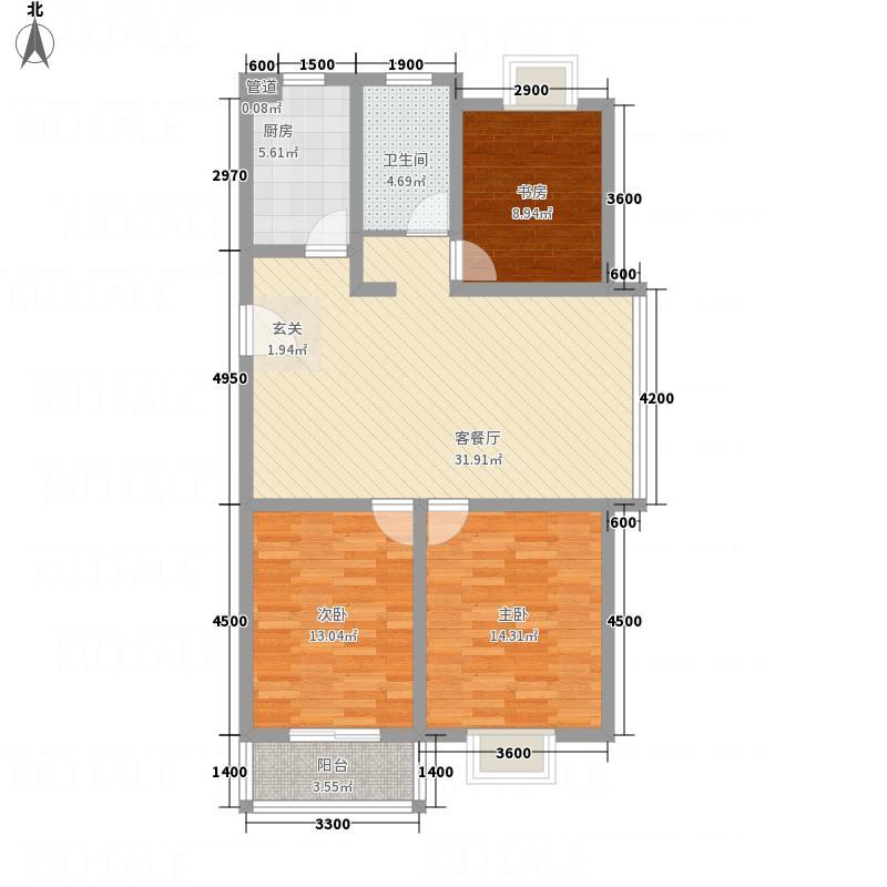 光华世家11.00㎡K户型3室2厅1卫1厨