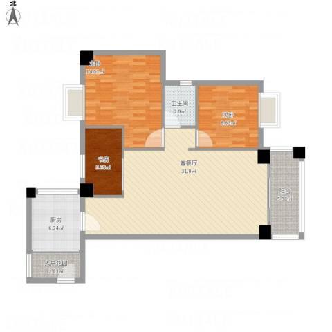 澳景蓝庭3室1厅1卫1厨109.00㎡户型图