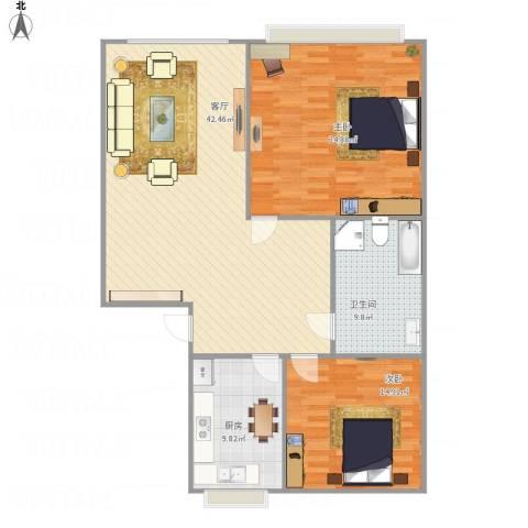华宇绿洲2室1厅1卫1厨134.00㎡户型图