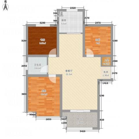 乾达・盛世嘉园3室1厅1卫1厨110.00㎡户型图