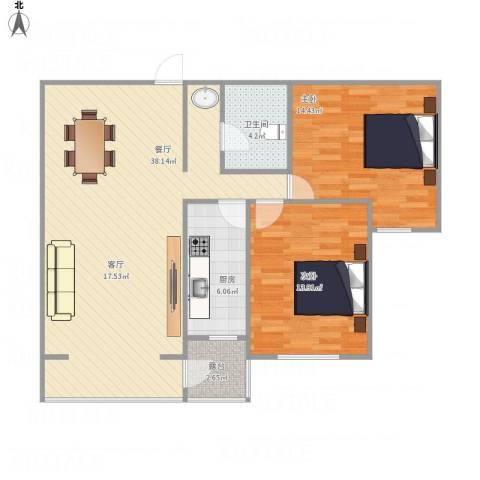 奥林匹克花园玉兰苑2室1厅1卫1厨106.00㎡户型图