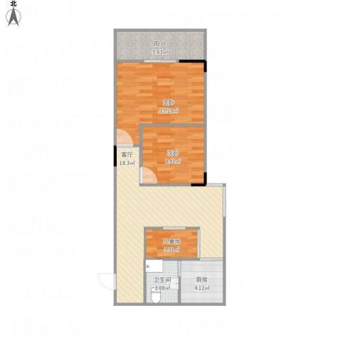 麒麟花园3室1厅1卫1厨76.00㎡户型图
