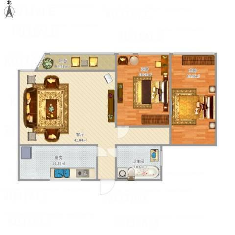 凤起苑2室1厅1卫1厨138.00㎡户型图