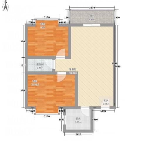 宁合世嘉2室1厅1卫1厨83.00㎡户型图