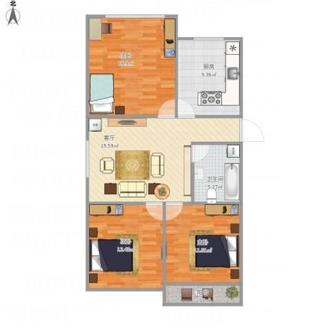 天赐苑3室1厅1卫1厨83.69㎡户型图