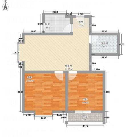 宁合世嘉2室1厅1卫1厨87.00㎡户型图