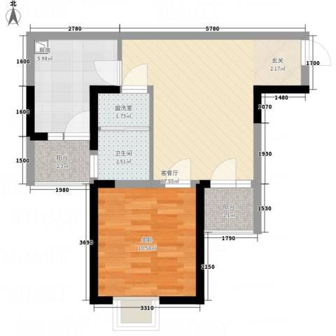 君领庄园1室2厅1卫1厨63.00㎡户型图