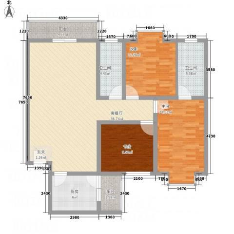 宁合世嘉3室1厅2卫1厨135.00㎡户型图