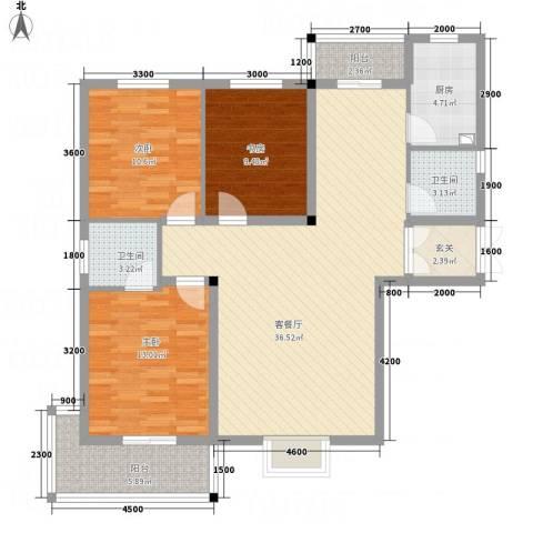 鑫紫荆花园3室1厅2卫1厨104.73㎡户型图