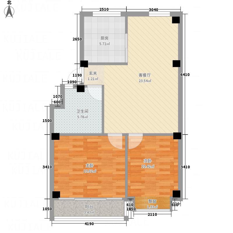 清泉阳光87.00㎡二期阁楼G户型2室2厅1卫1厨