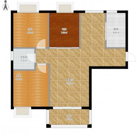 湾仔城3室1厅1卫1厨94.00㎡户型图