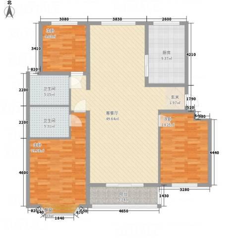 佳腾大厦3室1厅2卫1厨164.00㎡户型图