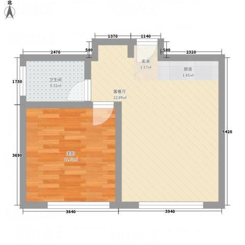 瑞港商业广场公寓1室1厅1卫0厨62.00㎡户型图