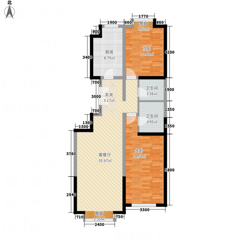 联发小区2户型2室2厅2卫1厨