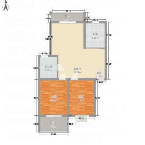 文锦苑2室1厅1卫1厨102.00㎡户型图