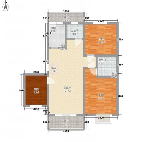 文锦苑3室1厅2卫1厨83.41㎡户型图