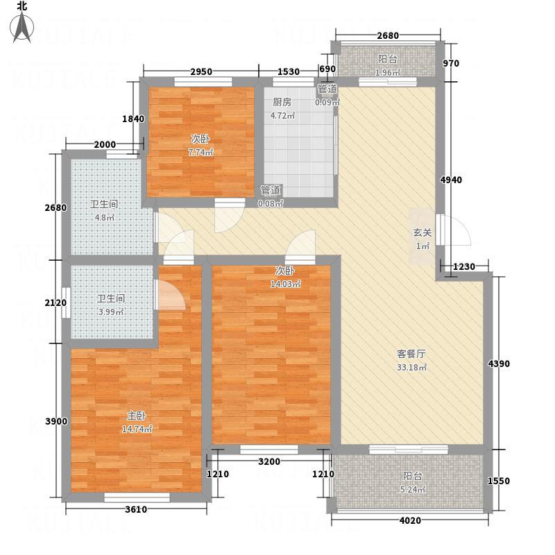文锦苑112.30㎡Ⅱ期D户型3室2厅2卫1厨