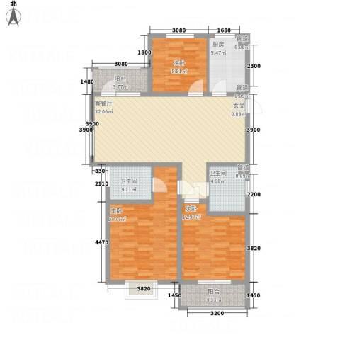 文锦苑3室1厅2卫1厨125.00㎡户型图