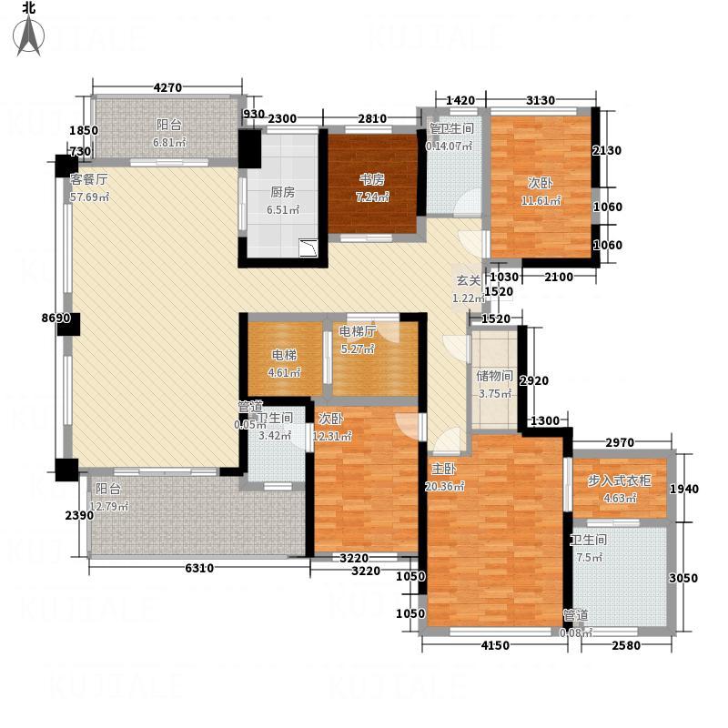 天玺湾4室1厅3卫1厨168.87㎡户型图