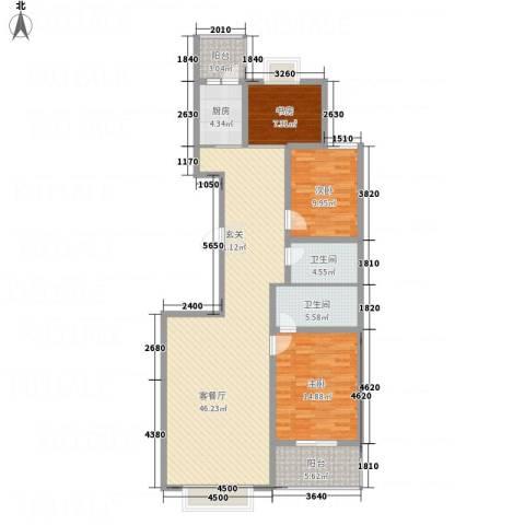 文华园竹韵3室1厅2卫1厨144.00㎡户型图