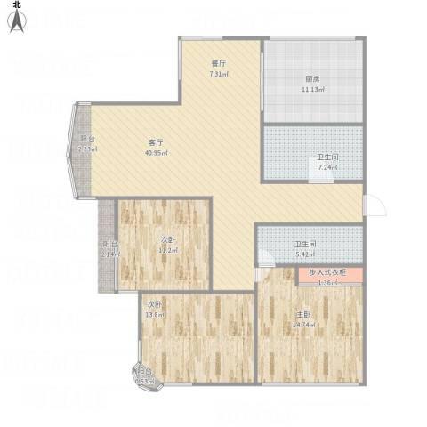 春江花月江树苑3室1厅2卫1厨142.00㎡户型图
