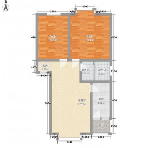 江畔首府2室2厅1卫1厨103.00㎡户型图