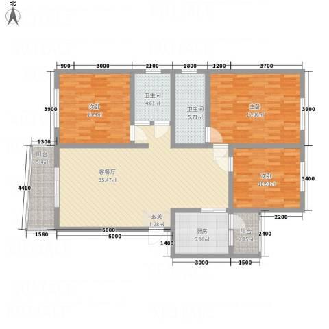江畔首府3室1厅2卫1厨127.00㎡户型图