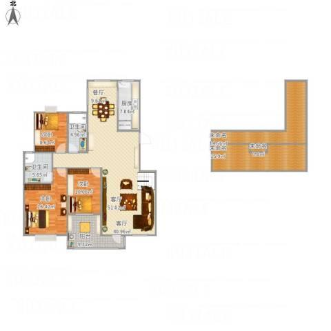 元氏天山水榭花都3室1厅2卫1厨194.00㎡户型图