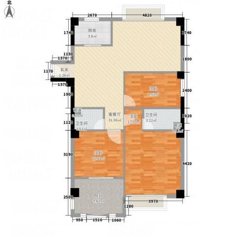 财富广场3室1厅2卫1厨118.00㎡户型图